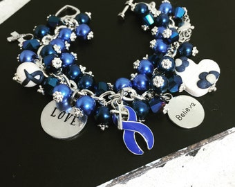 Colon Cancer Bracelet | Colon Cancer Awareness Bracelet | Blue Awareness Bracelet | Colon Cancer Jewelry | Survivor Jewelry | Hope Jewelry