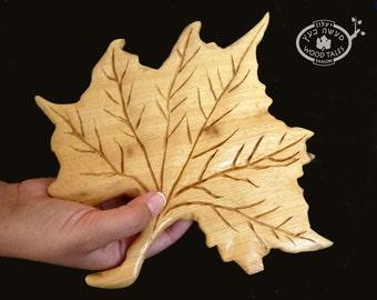 Wooden Leaf,   Hand carved,  Hot Pad  or Decoration