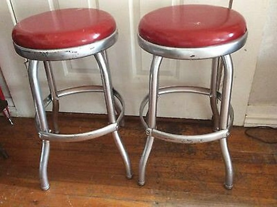 Vintage Pair 1950s Cosco Bar Stools Chairs Chrome Red