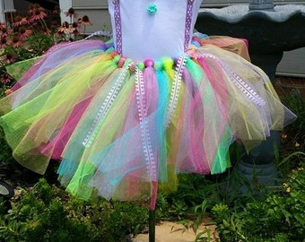 Fluorescent Rainbow Tutu Birthday Outfit with Shirt