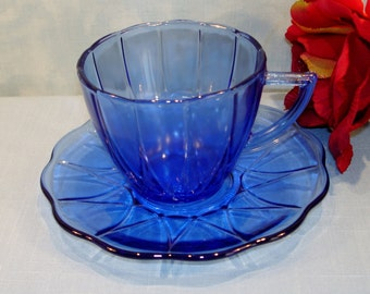 Newport or Hairpin Cobalt Blue Depression Glass Cup and Saucer by Hazel Atlas