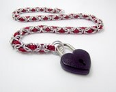 Slave Collar in Red and Silver with Black Heart Padlock - Byzantine Weave Chainmaille Day Collar Fetish Bondage BDSM – Handmade Choker