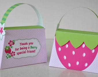 Strawberry Shortcake inspired Purse Favor box - pdf printable party treat bag - Rosita Fresita strawberry patch