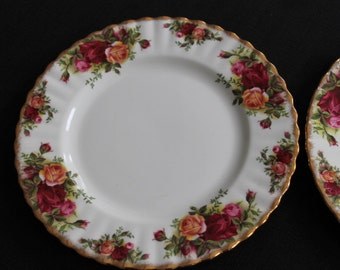 vintage pair Royal Albert Old Country Roses 8 inch side plate