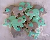 Elephant Chevron Baby Shower Cookies - 1 Dozen