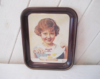 Norman Rockwell tray, The Butter Girl, tin collectible tray