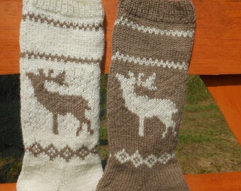 Knit Christmas Stocking Hand Knitted Personalized with Reindeer, Christmas Gift Christmas Decoration