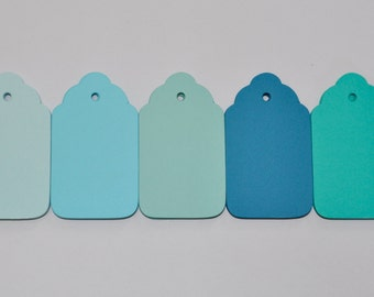 50  Blank tags,  Blue Ombre collection, Hang tag, Gift tags,Wedding wish tree tags,