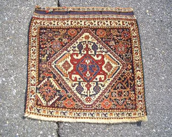 1940s Handknotted Antique Ghasghai-Shiraz Persian Rug Bagface (3170)