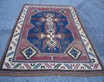 1970s Hand-Knotted Kazak-Style Turkish Rug (1877)