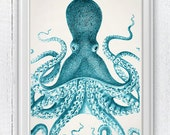 Giant Blue octopus, Nautical Print Beach Decor bathroom Decor Nautical Decor Wall Art Beach House Decor Octopus Picture SPOJ042