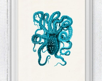 Vintage octopus n5 - sea life print- Wall decor poster - Turquoise octopus- vintage natural history SAS140