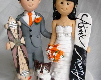 Personalised Bride & Groom Skiing Skating with ski board  skateboard wedding cake topper
