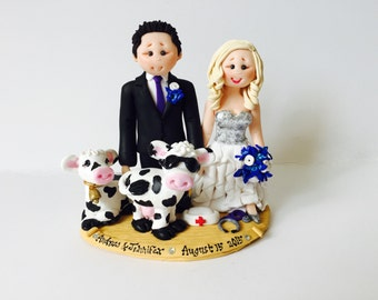 Personalised nurse bride and farmer groom with cows - Farm themed wedding cake topper