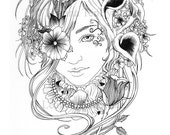 Adult Colouring Page  -Blackflower Maiden- Printable Digital Download PDF Colour Your Own Line Art