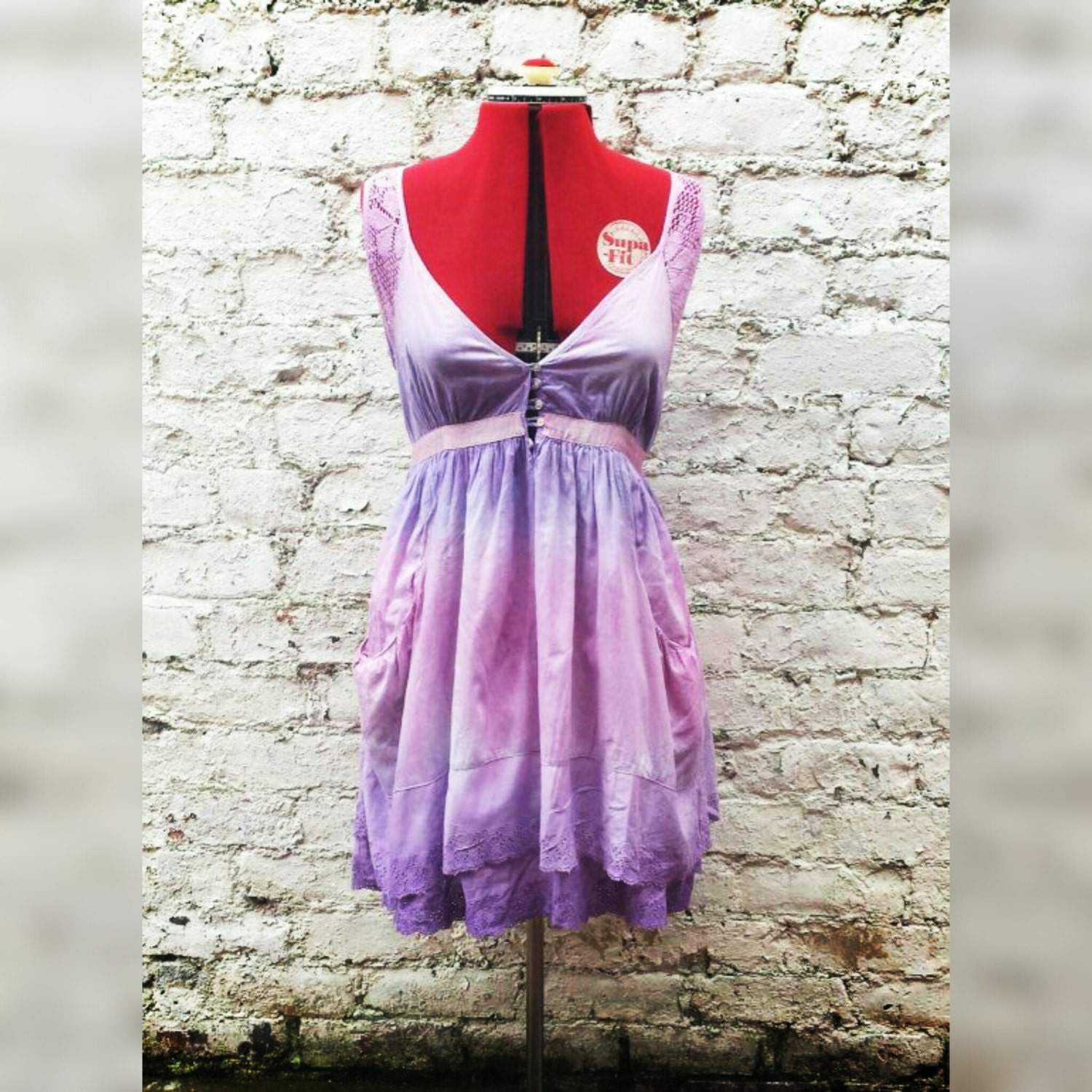 Summer dress boho wedding dress lilac pink ombre uk size 12 for Pink ombre wedding dress
