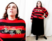 Plus Size - Vintage Red & Black Stripe Metallic Embroidery Blouse (Size 16)