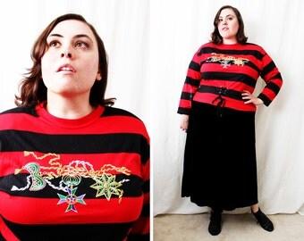 Plus Size - Vintage Red & Black Stripe Metallic Embroidery Blouse (Size 16)