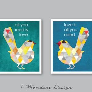 all you need is love bird print etsy sale