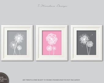 Dandelion Wall Art Prints, Girls Bedroom Nursery, Pink Gray Flower Art, Dandelion Art Set of (3) 5x7, 8x10 or 11x14, Home Decor, UNFRAMED