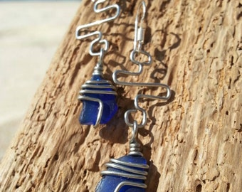 Deep blue seaglass Earrings