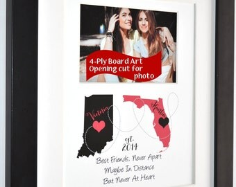 Long distance maps, going away gift, custom best friend present, friendship quote, multi state map art, popular friend gifts, 2 states