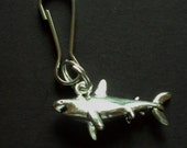 New 3D Tibetan Silver Shark Charm Zipper Pull Backpack Clip Purse Clip