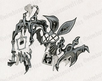 Detailed Ink Drawing of an Abstract Cartoon Bat! Organic and Mechanical Elements Come Together in this Fun and Unique Illustration! Enjoy!