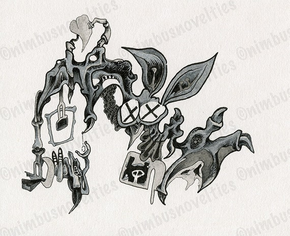 detailed ink drawing of an abstract cartoon bat organic and