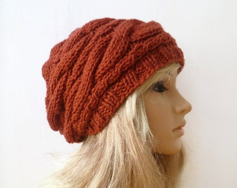 Cabled Knit Slouchy Beanie hat, Ladies Hand Knitted Rust Slouch Beanie Hat, Women Knitted Cabled Hat, Chunky Acrylic, Clickclackknits