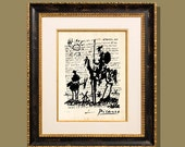 """Fine Art Print - """"Don Quixote - Picasso"""" 8.5""""x11"""", printed on a letter written on Picasso, Modern Art, Giclee print"""