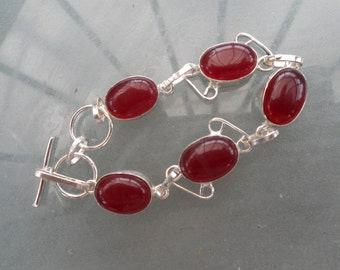 Free Shipping   -  Red Jasper gemstone bracelet in a silver setting handcrafted in its own pretty gift box
