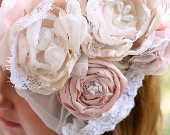 Vintage lace fabric flower wedding hair clip veil blush pink cream pearls wedding hairpiece fascinator spring easter bonnet hair clip