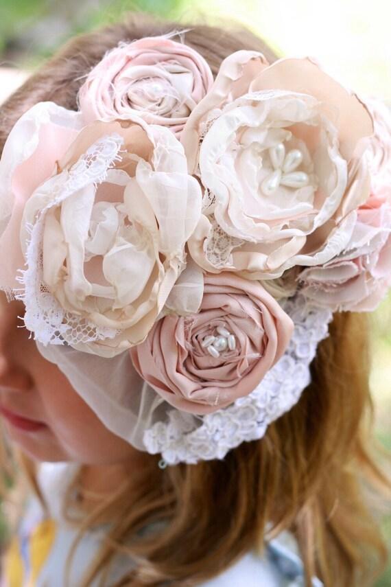 Vintage lace fabric flower wedding hair clip veil blush pink cream pearls wedding hairpiece fascinator spring easter bonnet hair clip