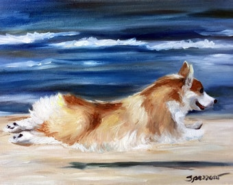 CANVAS PRINT Pembroke Welsh Corgi Dog love is in the air flowers / Mary Sparrow unstretched and rolled