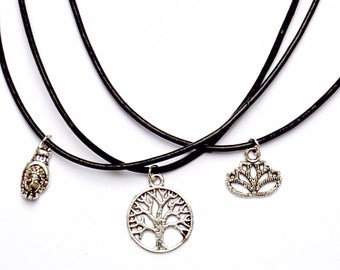 Black cord chocker with silver lotus, buddha or tree of life charm-lobster fastening and extending  chain