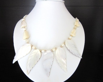Spiked Mother of Pearl Necklace Carved Leaves 18 Inches