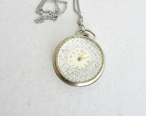 Triomphe Swiss Watch Pendant Silver Tone