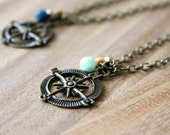 antique bronze compass necklace with czech glass beads - CHOOSE COLOR and LENGTH