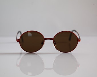 Vintage Eyewear, Metallic Red Frame,   Round Brown Lenses RX Prescription . Rare Piece.