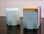 Hold Up... One Pair of Vintage Plastic/Melamine Demco Bookends (4 Available) - Sea Green, Midcentury, Modern, 1960s, Office, Library