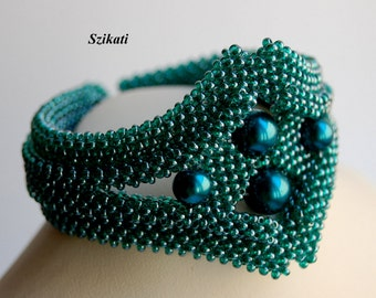 10% SALE! Teal Statement Beadwoven Bracelet, Beaded High Fashion Jewelry, Right Angle Weave, Women's Beadwork Accessory, Gift for Her, OOAK