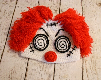Crochet Hypnotic Clown Hat- Halloween Hat- Newborn to Adult