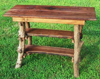 Rustic Walnut Wood Console Sofa Table with mountain laurel adirondack base 2 shelves Log Cabin Furniture by J. Wade
