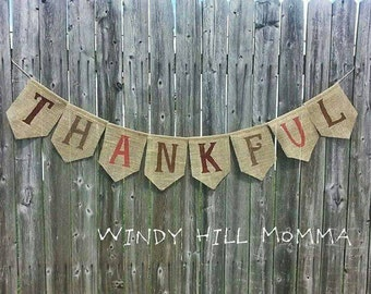 THANKFUL Burlap Banner Holiday Fall Thanksgiving Decoration