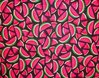 Black/Red Polka Dot Watermelon Fabric by the Half Yard