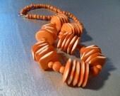 Vintage 70s Statement Chunky Orange Dyed BONE Necklace Boho Hippy Gypsy Ethnic Tribal
