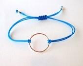 Sterling Silver Karma Bracelet, adjustable turquoise blue cord, circle, eternity, simple, minimalist, yoga, festival, friendship bracelet