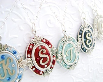 FIVE Unique Bridesmaid Jewelry Set of 5 Personalized Necklace Pendant Custom Color Letter with Swarovski Crystals, Sterling Silver Chain