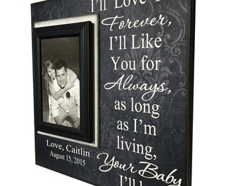 Wedding Frame for Mom ~ Wedding Thank You Gift From Groom ~ Gift to Mother Of The Bride Frame ~ I'll Love You Forever...Your Baby I'll Be ~